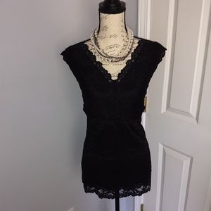 Women's INC black lace tank top NWOT!
